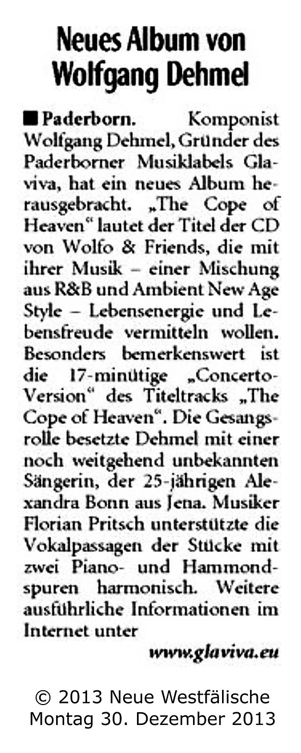 GLAVIVA Sounddesign • WOLFO - The Cope Of Heaven • NW - Pressebericht 30-12-2013